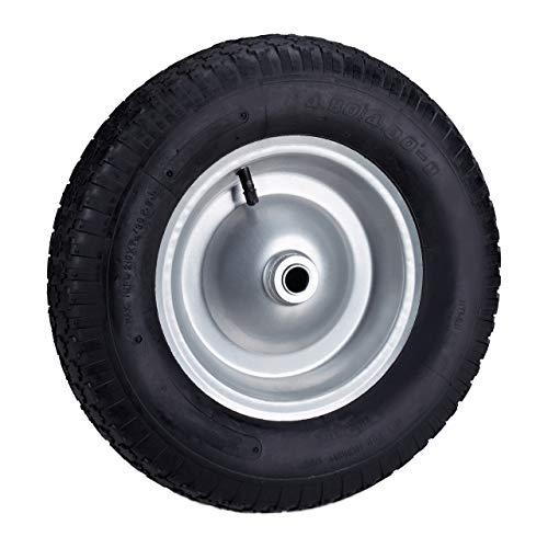 Relaxdays Rueda carretilla, Neumático de goma, Llanta de acero y válvula, Hasta 120 kg, Negro