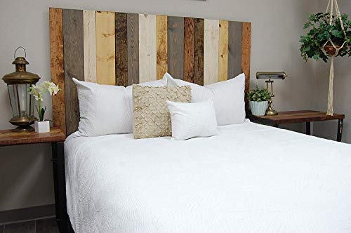 Rustic Mix Headboard King Size, Hanger Style, Handcrafted. Mounts on Wall. Easy Installation