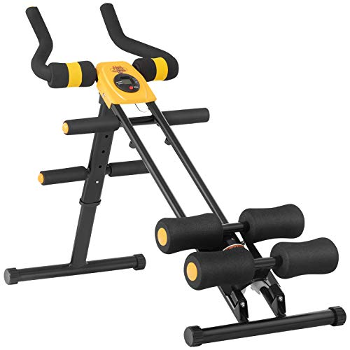 Core Abdominal Trainers, Ab Vertical 5 Minute Shaper Waist Trainer Core Toner Ab Cruncher Fitness Machine Equipment W/ LED Counter (Yellow)
