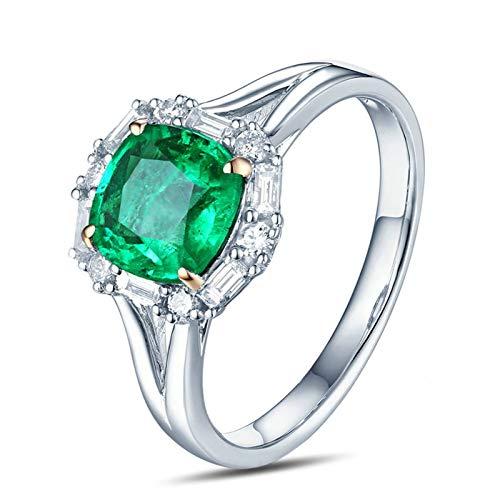 Beydodo Trauringe 750Er Weißgold Quadrat Smaragd 1.12ct Hochzeit Ring Weißgold für Damen mit Diamant Gr.50 (15.9)