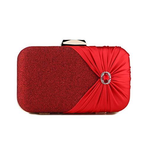 Mubolin Bolso de mano de noche para mujer, bolso de hombro con cadena de satén con diamantes de imitación (color rojo)
