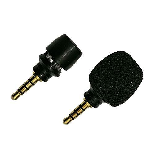 CANFON Mini Condenser Microphone with High Sensitivity for Phone iOS iPhone iPhone X 8 7 6 iPad Podcast YouTube Facebook Livestream (3.5mm TRRS) (Black)