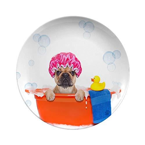 Porcelain Dinner Plates,french Bulldog Dog In A Bathtub Not,elegant Round Serving Plates For Appetizers,dessert,salad,snacks,10 Inch 6 Piece Set