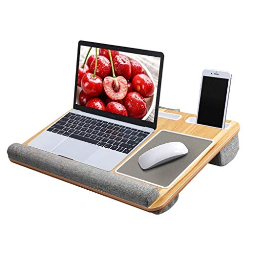 LYLSXY Tables,Portable Lap Laptop Desk, Portable Laptop Desk Tray with Cushion Mouse Pad and Wrist Rest Right Left Handed Design Fits up to 17 inch Laptop Tablet Work from Home,a