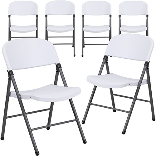 Flash Furniture 6-DAD-YCD-50-WH-GG 6 Pk. HERCULES Series 330 lb. Capacity Granite White Plastic Folding Chair with Charcoal Frame