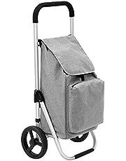 SONGMICS Vikbar shoppingvagn på hjul, lätt, kundvagn, med isolerad kylväska, 40 liter, stor kapacitet