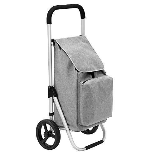 SONGMICS Faltbarer Einkaufstrolley, mit Rollen, leichter Einkaufswagen mit isoliertem Kühlfach, 40 L, grau KST04GY