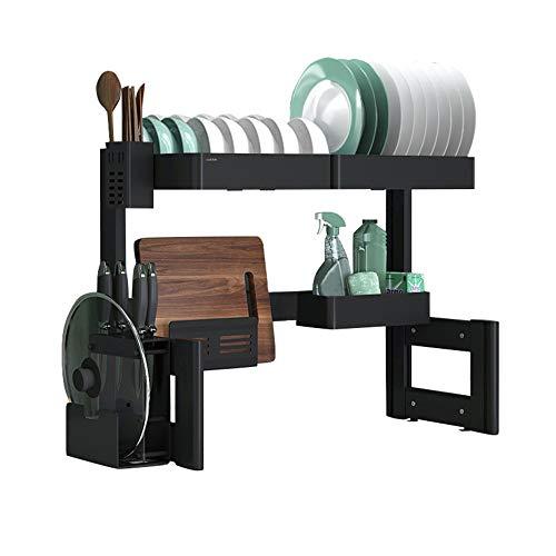 ZY-XSP Escurridor de platos, estante para fregadero de cocina de aleación de aluminio, estante de almacenamiento de vajilla de una sola capa para encimera / 66cm