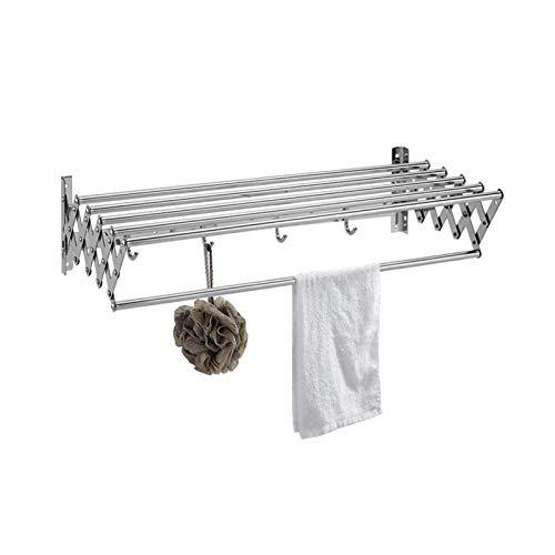 LXLTL Tendedero Balcon, Tendedero de Ropa Plegable Pared, Compacto Extensible Estante para Secado de Ropa/Acero Inoxidable,con Ganchos,60cm