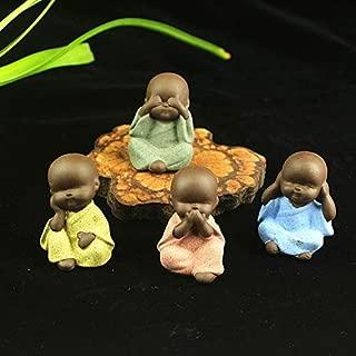 YOTATO 4Pcs Purple Clay The Little Statues & Sculptures Monk Home Decoration Tea Pet