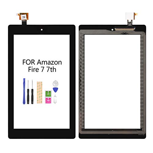 LADYSON 7' inch Digitizer Screen Replacement for Amazon Kindle Fire 7 7th Generation SR043KL (for 7th Generation 2017 Release) Touch Glass Panel Repair Parts with Free Tools