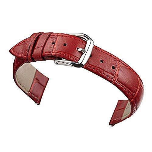 AUTULET Donna rosso Cinturini per orologi da polso Band opaco autentico imbottito in pelle 20 millimetri Rosso
