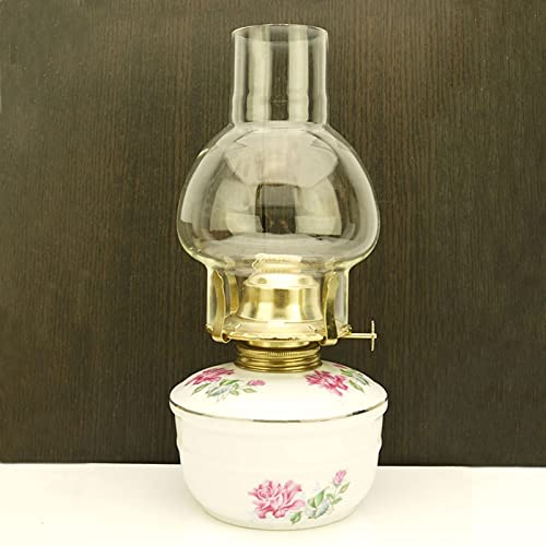 KOLIT Lámparas de Aceite para Uso en Interiores, Altura 25 cm Lámpara de Petróleo Estilo Nostálgico Retro Artesanías de Cerámica, Lámpara de Queroseno