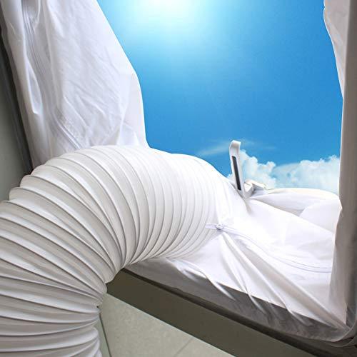 Stecto Fensterdichtung für mobile Klimaanlage Wäschetrockner 400CM Universal-Fensterdichtung mit starkem Haken, Heißluft- und Regenschutz, kein Bohren erforderlich