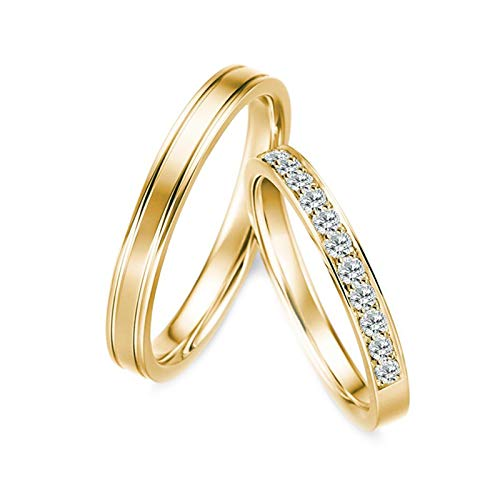 KnBoB 1 Paar Verlobungsringe Linie Diamant 0.28ct 18K Gold Ringe Größe Damen 54 (17.2) & Herren 62 (19.7)