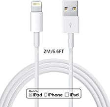 Apple Charger Lightning to USB Cable Compatible iPhone X/8/7/6s/6/plus/5s/5c/SE,iPad Pro/Air/Mini,iPod Touch(White 2M/6.6FT) Original Certified