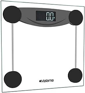 Malama - Báscula digital para baño (peso corporal, báscula de pesaje con tecnología Step-On y pantalla LCD retroiluminada, medidas de peso precisas de 400 libras) MASC13, Negro