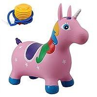 ハクチョウ(hakucho)ホッピングユニコーン バウンスユニコーン 乗用玩具 専用ポンプ付 ゴム製空気入れ バランスおもちゃ 誕生日 出産祝い プレゼント (ピンク)