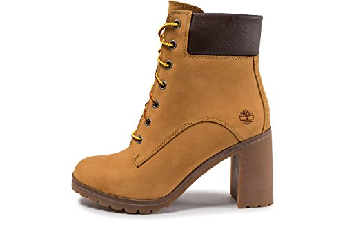 Timberland Allington 6-Inch Lace Up, Botas para Mujer, Amarillo (Wheat Nubuck), 38 EU