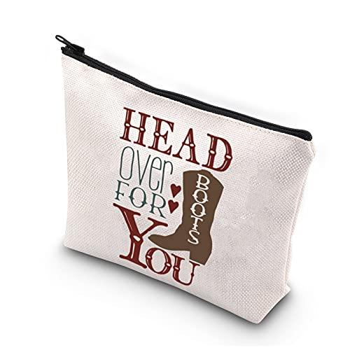 Western Cowgirl Gifts - Bolsa de maquillaje para viajes, bolsa de aseo portátil, para guardar la cabeza de las botas para ti, regalos con botas de vaquera para mujeres y niñas