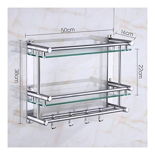 WXQIANG Estante de cristal, toallero de acero inoxidable montado en la pared con riel rectangular de vidrio templado extra grueso, acabado cepillado duradero y protector