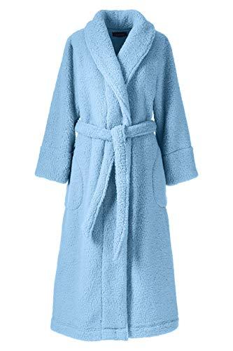Lands' End Women's Plus Size Sherpa Fleece Long Robe 1X Pale China Blue
