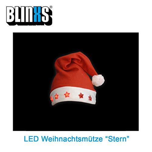 BLINXS LED Weihnachtsmütze / Nikolausmütze mit 5 leuchtenden LED-Sternen - tolles Gimmick für Weihnachten - inklusive austauschbaren Batterien
