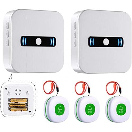Daytech Wireless Mobiler Alarm Notruf Knopf hausnotruf funktioniert pflegeruf set für Ältere menschen 3 sender und 2 empfänger lauter alarm