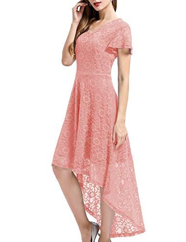 Bbonlinedress Damen Vintage Vokuhila Spitzen Kurzarm Unregelmässig Brautjungfern Abendkleider Blush XL