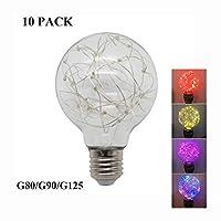 LED電球 10パック - ランプバルブカラフルな銅線ランプビーズ4色、E27ランプホルダー、ホーム商業インテリア屋外ガーデンホリデーセレブレーション [エネルギークラスA ++] (Color : Red, Size : G125)
