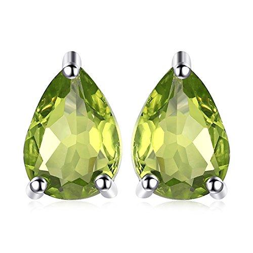JewelryPalace Donna Gioiello 1.6ct Pera Verde Naturale Peridot Birthstone Orecchini in stud Solido Argento Sterling 925
