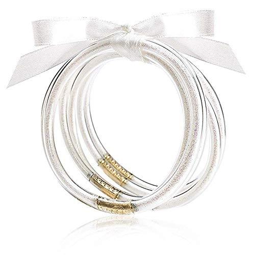 MJartoria Glitter Jelly Bangles Bracelets Set Glitter Filled Jelly Silicone Bracelets for Women Girls (White)