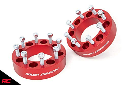 """Rough Country 1099RED 2"""" Wheel Spacers Red fits 1994-2011 Ram Truck 2500 3500 8x6.5"""