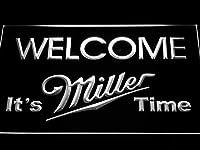 Miller Welcome It's Miller Time LED看板 ネオンサイン ライト 電飾 広告用標識 W30cm x H20cm ホワイト