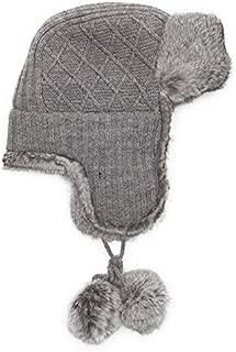 Womens Grey Rabbit Fur Trimmed Knit Trapper / Avaitor Hat w/ Pom Pom