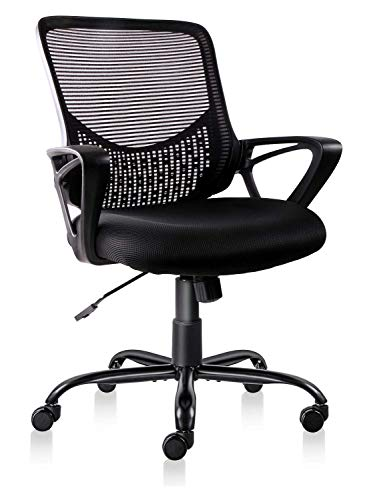 Smugoffice Office Chair Mesh Ergonomic Lumbar Support Executive Mast Computer Desk Chairs Mid Back with Armrests for Home Ofiice, Black