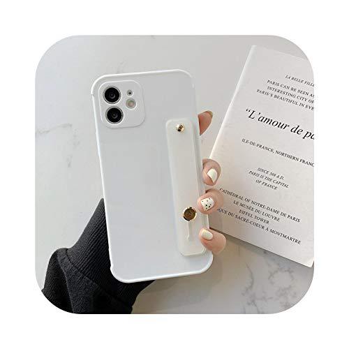 Correa de muñeca de color caramelo para iPhone 11 Caso a prueba de golpes Bumper Funda para iPhone 12 Mini 11 Pro Max X XS XR 7 8 Plus SE 2020-blanco para iPhone 12Pro Max