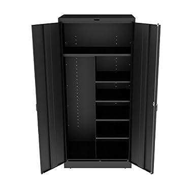 Tennsco 7814 Heavy Gauge Steel Deluxe Welded Combination Cabinet, 7 Shelves, 150 (50 lbs per half shelf) Capacity per Shelf, 36  Width x 78  Height x 18  Depth, Black