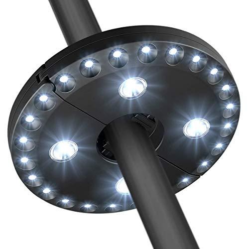 Luz Sombrilla Led, GLURIZ Lámpara para Sombrilla de Patio, Luz Parasol con 28 LED 400 Lúmenes, Iluminación Nocturna para Sombrillas y Paraguas de Playa, Patio, Jardín y Piscina