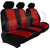 POK-TER-TUNING Maßgefertigter Sitzbezug für Crafter II ab 2017. Fahrersitz + 2er Beifahrersitzbank (Lehne geteilt) Kunstleder. Farbe DUNKELROT.