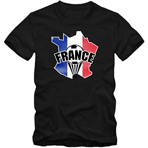 Shirt Happenz Francia Campeonato De Europa 2016#1 Camiseta | France | Fútbol | Hombre | Jersey | Equipo Nacional, Colour:Black (Deep Black);Size:XX-Large