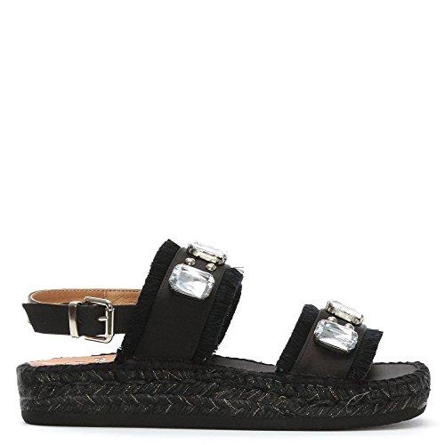 Kanna Doha-Schwarzer Zwei Balken Verziert Espadrilles Black Fabric 36
