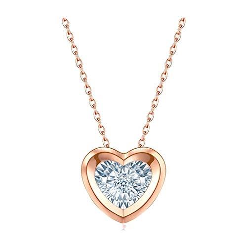 Aartoil Collar con colgante de oro rosa de 18 quilates con forma de corazón y colgante de diamante para mujer