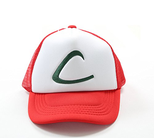 Pokemon Ash Hat Ketchum Mesh Cap Cosplay Costume for Halloween by Coslive