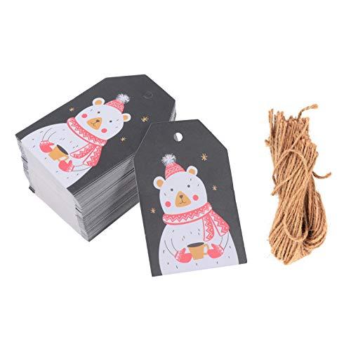 Amosfun 100Pcs Weihnachten Papier Tags DIY Weihnachten Urlaub Geschenk Wrap Geschenke Tags Urlaub Backen Hängen Tags Geschenke Verpackung Etikett Weihnachtsbaum Dekoration (Bär)