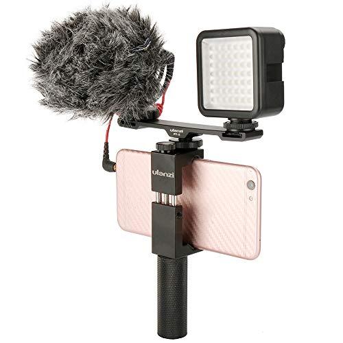 Ulanzi PT-2 Aluminium Microphone Dual Cold Shoe Mount Extension Bar Plate Vlogging Accessory for Tripod Video Light Camera Fillmakers