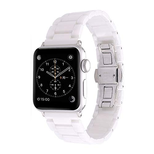 Aottom Compatible for Apple Watch Band 44mm Ceramic iWatch Band 42mm Women Men Stainless Steel Metal Butterfly Buckle Sport Wristband Replacement Band for 38mm/40mm Apple Watch Series 5/4/3/2/1, White