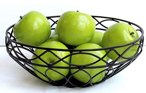 Mesa Home Drahtkorb Obstschale für Küchentische Arbeitsplatten, Antik-Schwarz Bowl