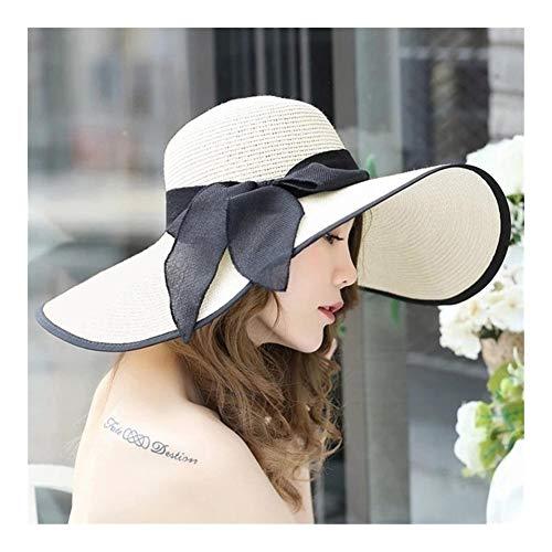 GlISR 海滩 稻草 圆顶 桶形 帽子 镂空 遮阳 遮阳帽 太阳 帽 帽 宽 檐 软盘 顶部 夏天 帽子 为 妇女 (Color : 1, Size : One Size)