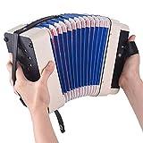 Mini acordeón de 10 botones admite acordes de bajos de 14 notas, con un paño de limpieza para uso educativo